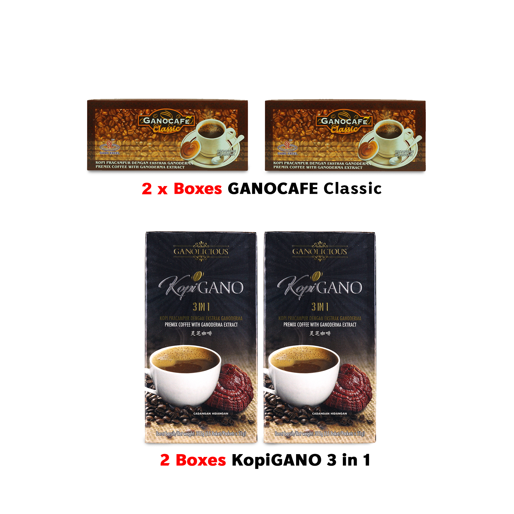 3 Boxes Of Organo Gourmet Gold Black Coffee And Cafe Latte